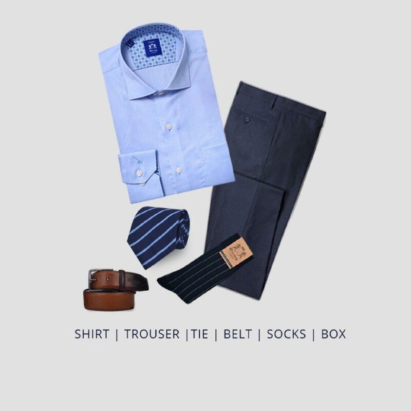 Fathers Day Gift Pack - Formalwear pack, Shirt, Trouser, Belt, Tie and Socks